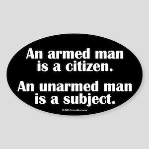 Armed Man Oval Sticker