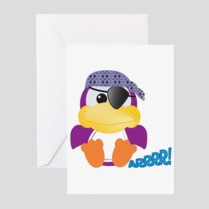 Purple Ducky Duck Pirate Greeting Cards (Package o