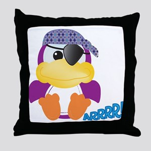 Purple Ducky Duck Pirate Throw Pillow