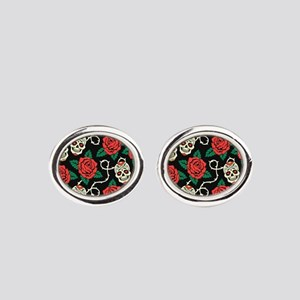 Skulls and Roses Oval Cufflinks