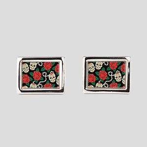 Skulls and Roses Rectangular Cufflinks
