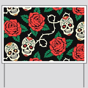 Skulls and Roses Yard Sign
