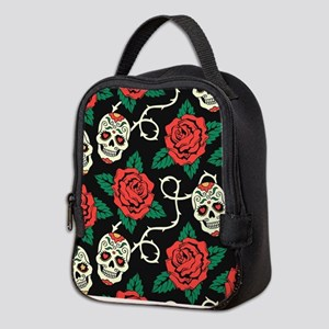 Skulls and Roses Neoprene Lunch Bag