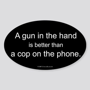 Gun in Hand Oval Sticker