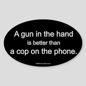 Gun in Hand Oval Sticker
