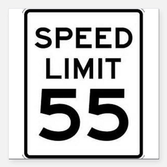 """55-MPH Speed Limit Day Square Car Magnet 3"""" x 3"""""""
