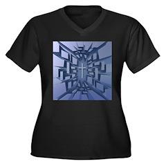 Abstract 3D Christian Cross Plus Size T-Shirt