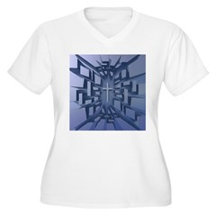 Abstract 3D Christian Cross Plus Size T-Shirt