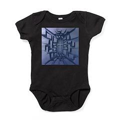 Abstract 3D Christian Cross Baby Bodysuit
