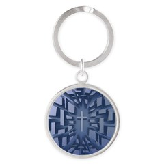 Abstract 3D Christian Cross Keychains
