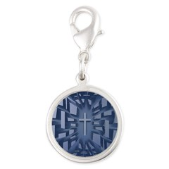 Abstract 3D Christian Cross Charms