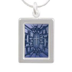 Abstract 3D Christian Cross Necklaces