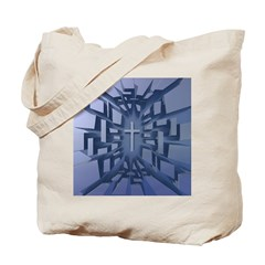 Abstract 3D Christian Cross Tote Bag