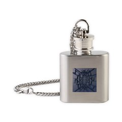 Abstract 3D Christian Cross Flask Necklace