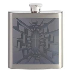Abstract 3D Christian Cross Flask