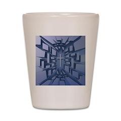 Abstract 3D Christian Cross Shot Glass