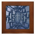 Abstract 3D Christian Cross Framed Tile