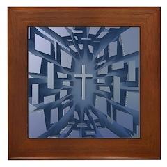 Abstract 3D Christian Cross Framed Tile