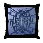 Abstract 3D Christian Cross Throw Pillow