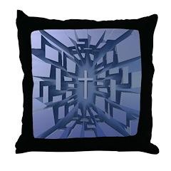 Abstract 3D Christian Cross Throw Pillow