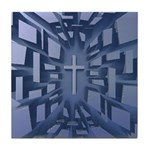 Abstract 3D Christian Cross Tile Coaster