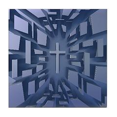 Abstract 3D Christian Cross Tile Coaster