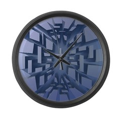 Abstract 3D Christian Cross Large Wall Clock