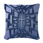 Abstract 3D Christian Cross Woven Throw Pillow