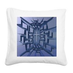 Abstract 3D Christian Cross Square Canvas Pillow
