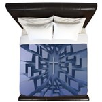 Abstract 3D Christian Cross King Duvet