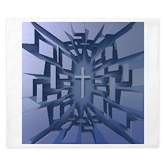 Abstract 3D Christian Cross King Duvet