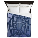 Abstract 3D Christian Cross Queen Duvet