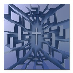Abstract 3D Christian Cross Square Car Magnet 3