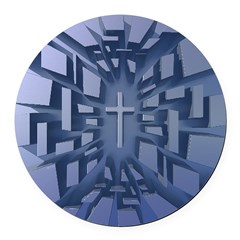 Abstract 3D Christian Cross Round Car Magnet