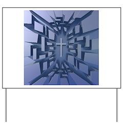 Abstract 3D Christian Cross Yard Sign