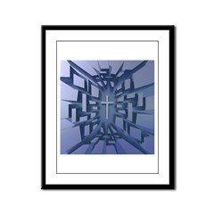 Abstract 3D Christian Cross Framed Panel Print