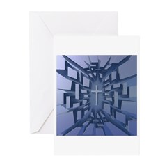 Abstract 3D Christian Cross Greeting Cards