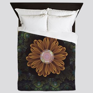 Abloom in Autumn Leaves with Faded Fra Queen Duvet