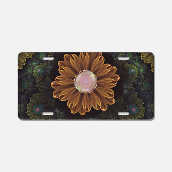 Abloom in Autumn Leaves wit Aluminum License Plate