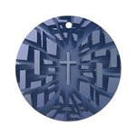 Abstract 3D Christian Cross Ornament (Round)