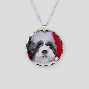 Christmas Shih Necklace Circle Charm