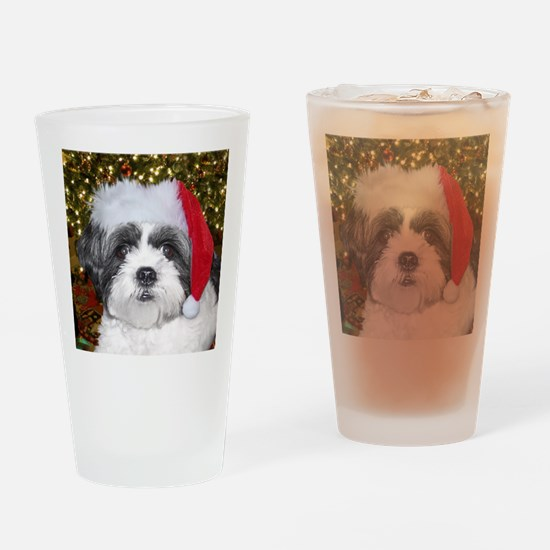 Christmas Shih Drinking Glass