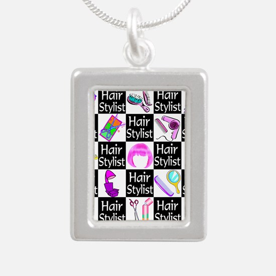 FOXY HAIR STYLIST Silver Portrait Necklace