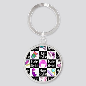 FOXY HAIR STYLIST Round Keychain