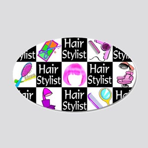 FOXY HAIR STYLIST 20x12 Oval Wall Decal