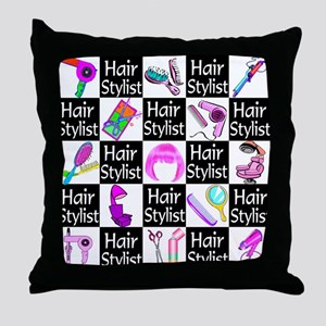 FOXY HAIR STYLIST Throw Pillow