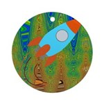 Abstract Rocket Ship Ornament (Round)