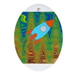 Abstract Rocket Ship Ornament (Oval)