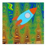 Abstract Rocket Ship Square Car Magnet 3