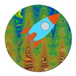 Abstract Rocket Ship Round Car Magnet